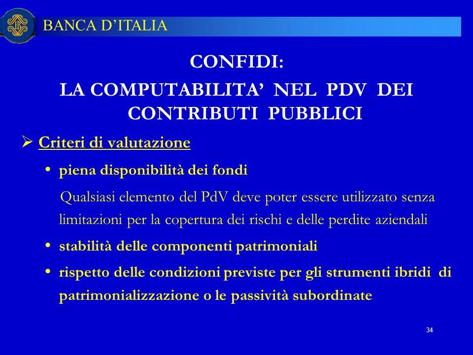 LA COMPUTABILITA' NEL PDV DEI CONTRIBUTI PUBBLICI