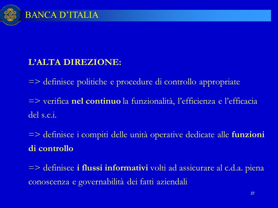 => definisce politiche e procedure di controllo appropriate