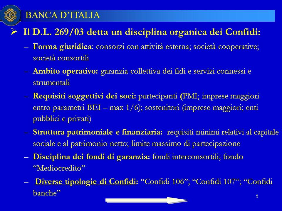 Il D.L. 269/03 detta un disciplina organica dei Confidi: