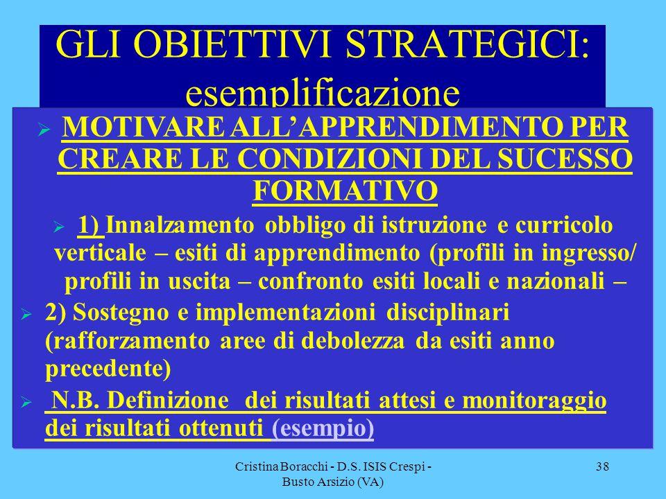 GLI OBIETTIVI STRATEGICI: esemplificazione