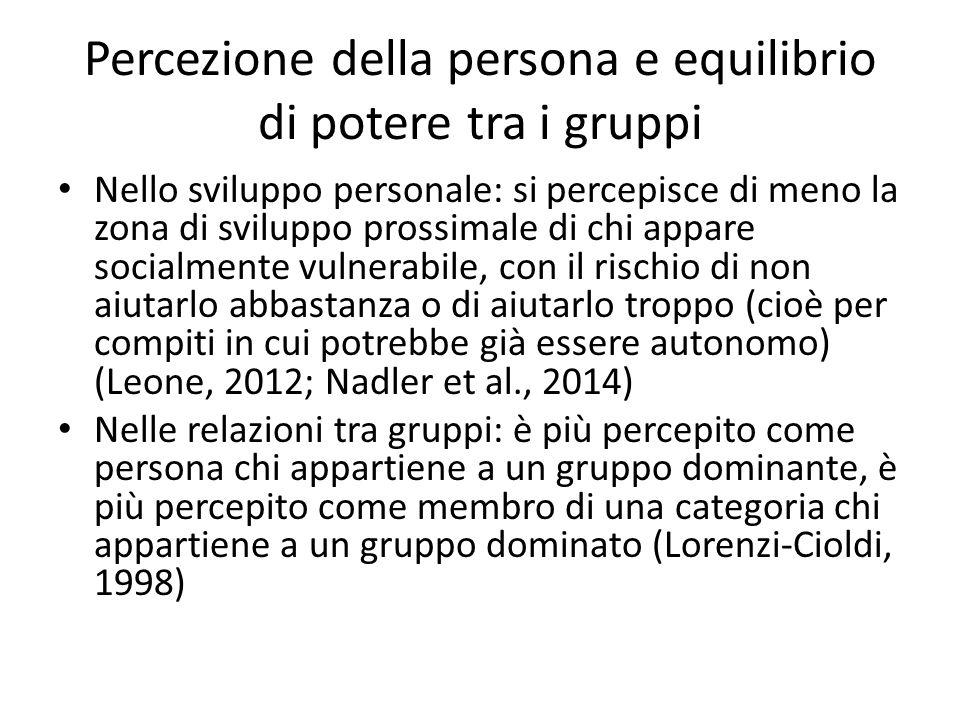 Percezione della persona e equilibrio di potere tra i gruppi