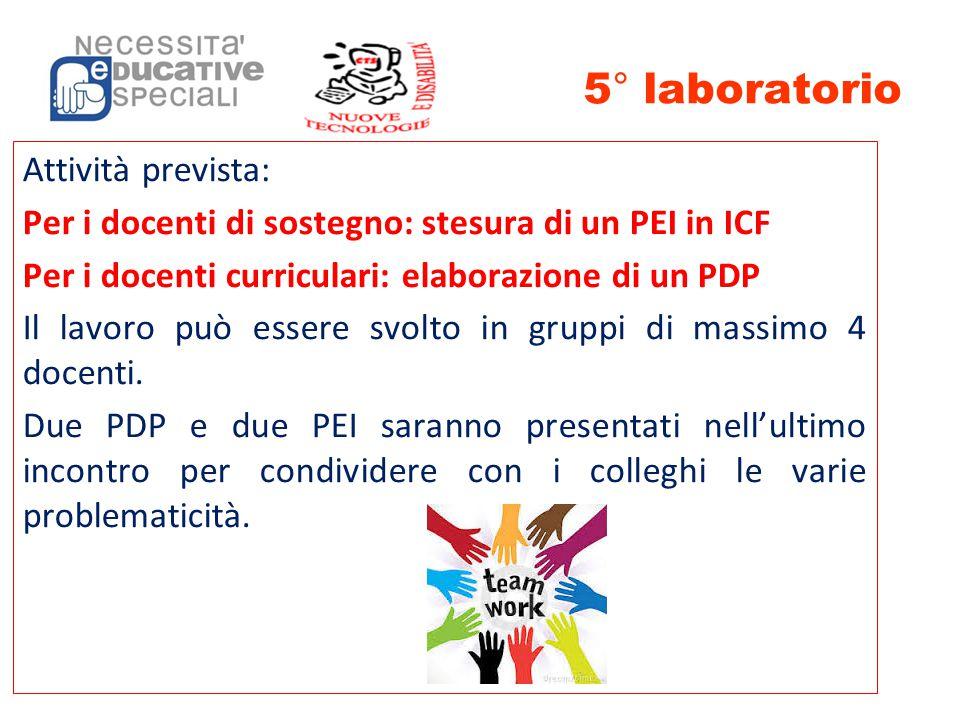 5° laboratorio Attività prevista: