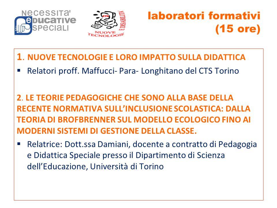 laboratori formativi (15 ore)