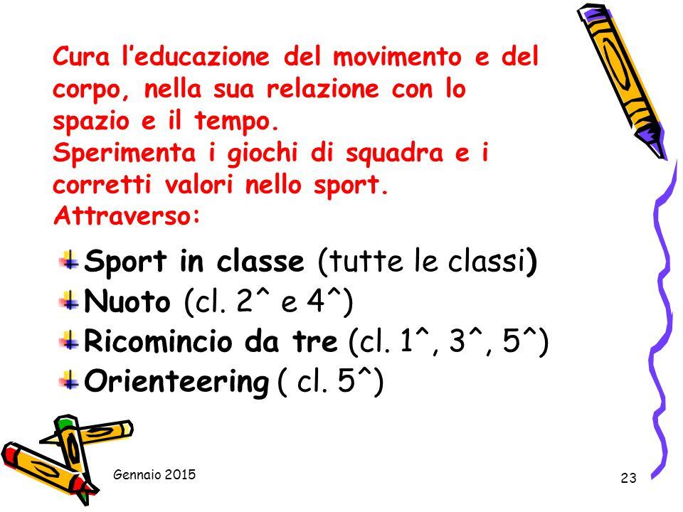 Sport in classe (tutte le classi) Nuoto (cl. 2^ e 4^)