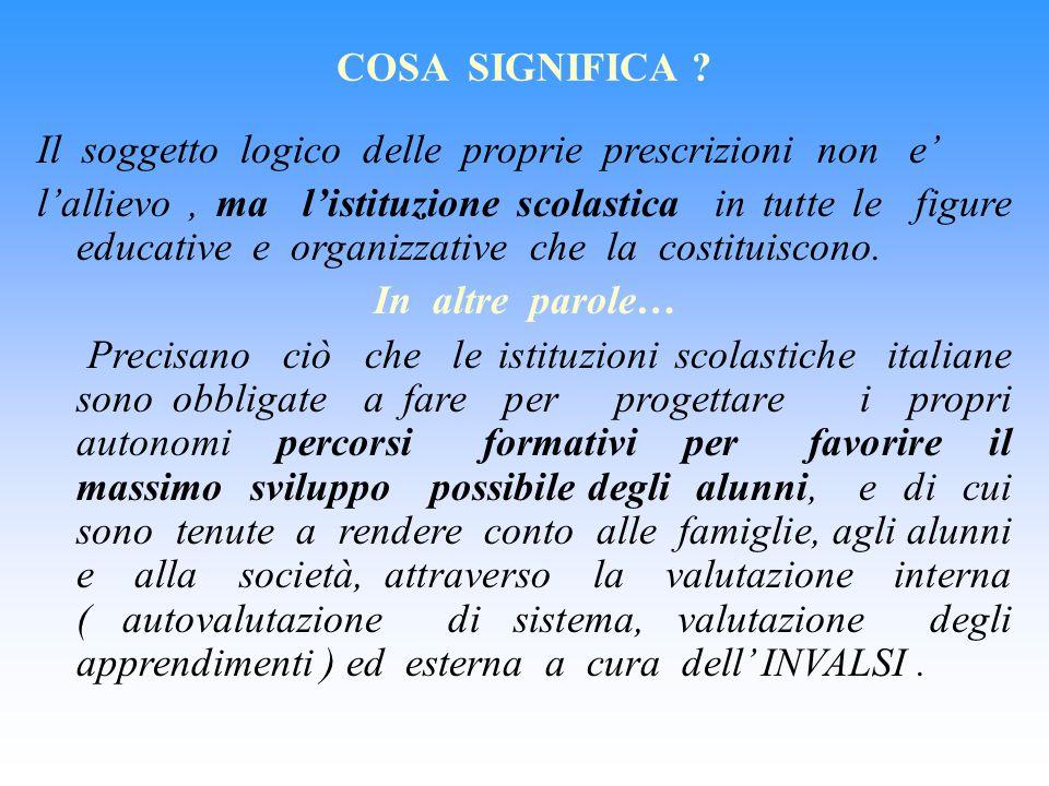 COSA SIGNIFICA Il soggetto logico delle proprie prescrizioni non e'