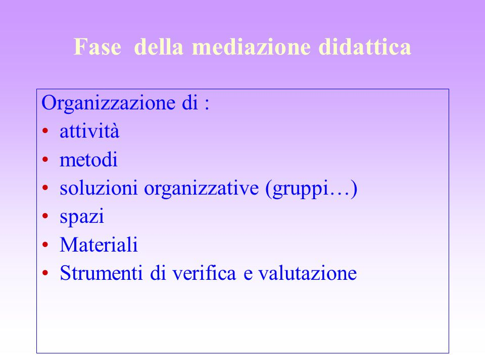 Fase della mediazione didattica