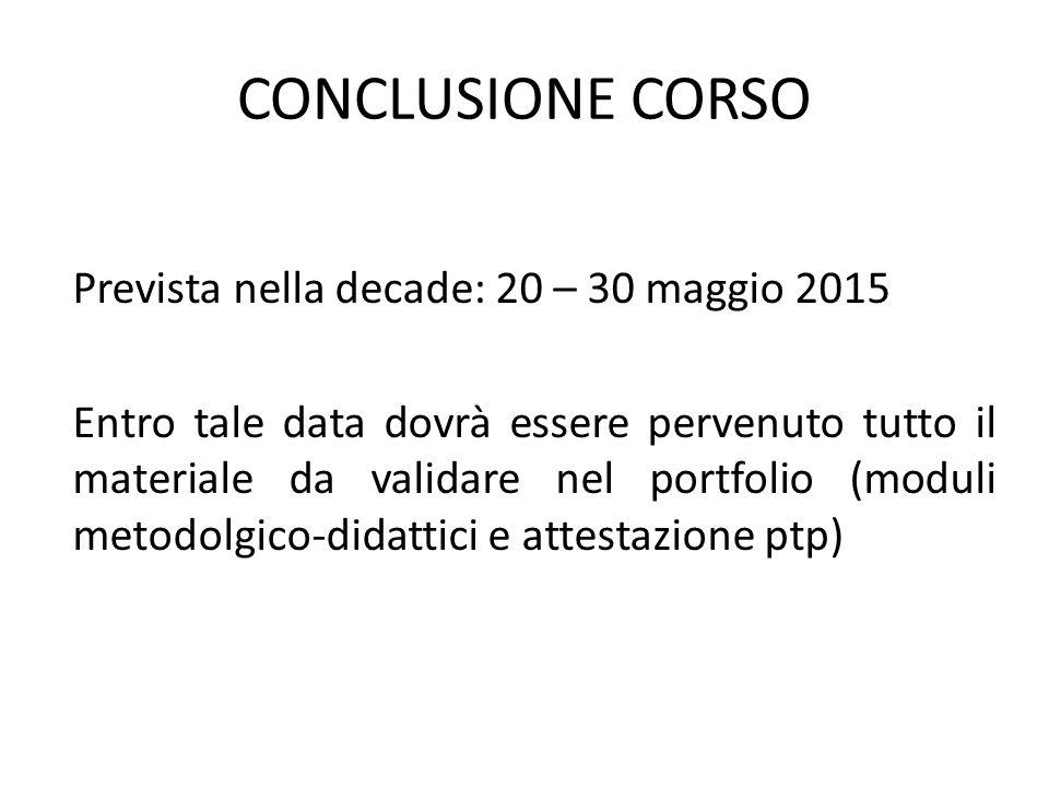 CONCLUSIONE CORSO