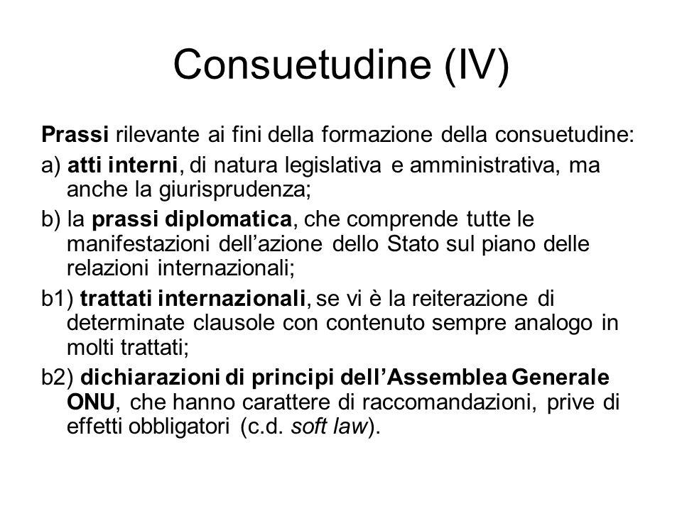 Consuetudine (IV) Prassi rilevante ai fini della formazione della consuetudine: