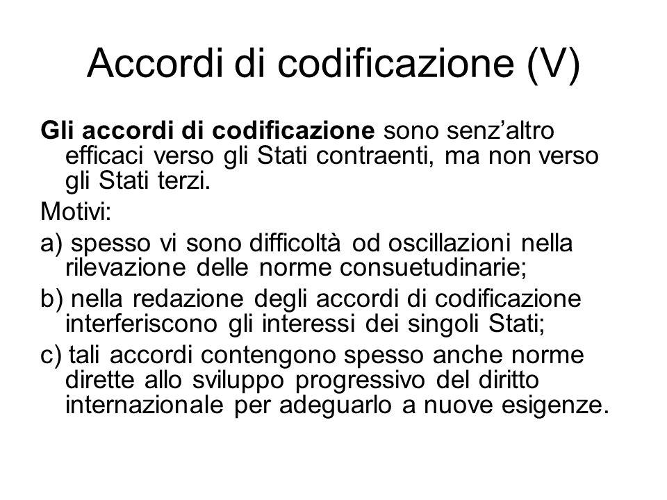 Accordi di codificazione (V)