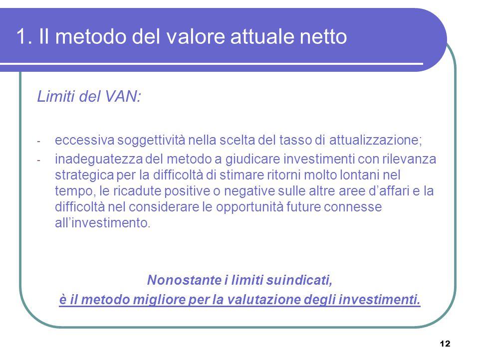 1. Il metodo del valore attuale netto