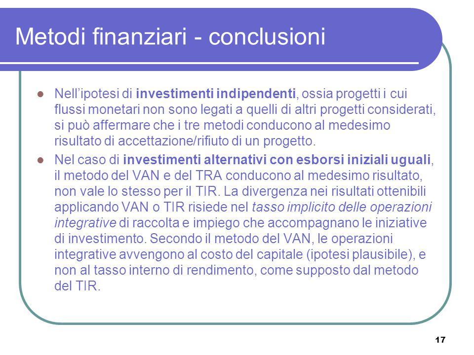 Metodi finanziari - conclusioni