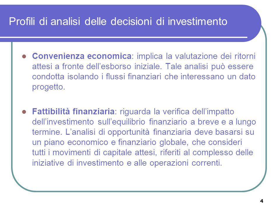 Profili di analisi delle decisioni di investimento