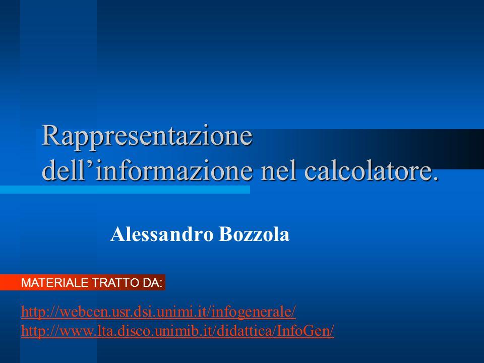 Rappresentazione dell'informazione nel calcolatore.