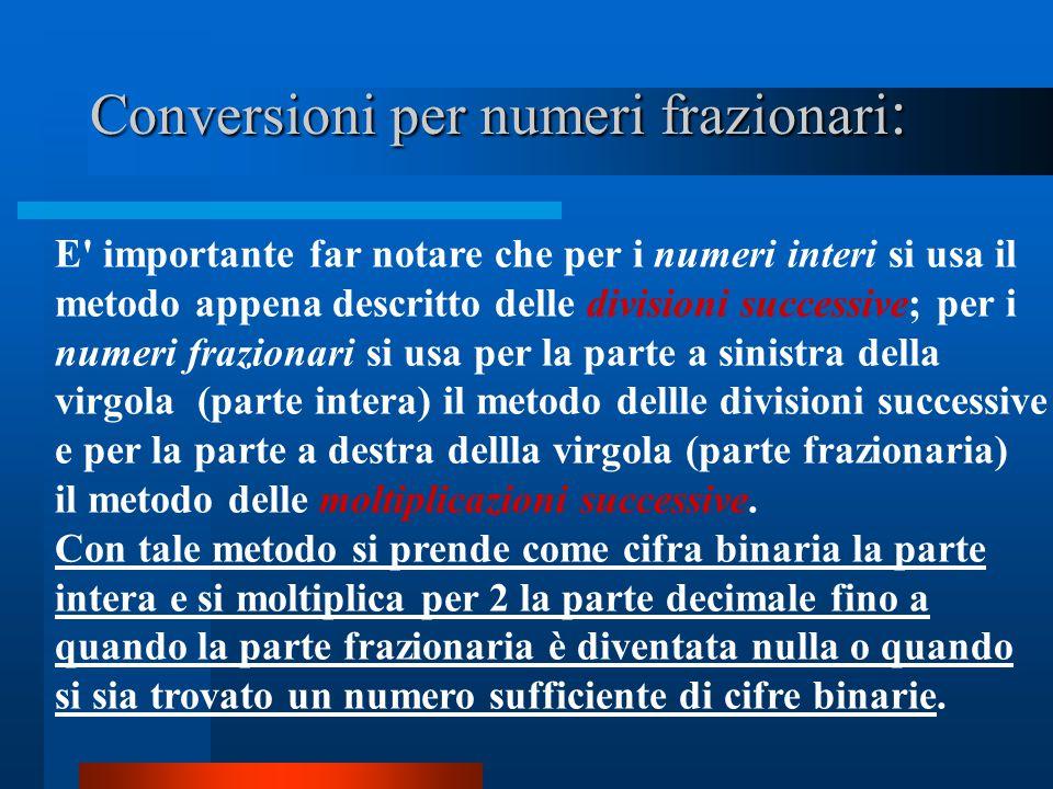 Conversioni per numeri frazionari: