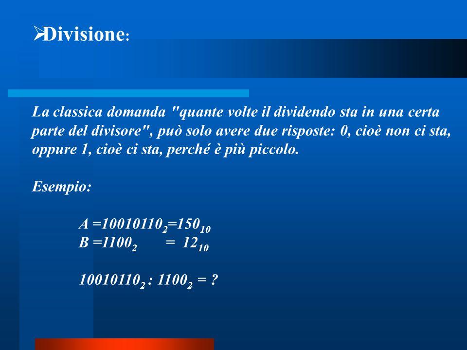 Divisione: La classica domanda quante volte il dividendo sta in una certa. parte del divisore , può solo avere due risposte: 0, cioè non ci sta,