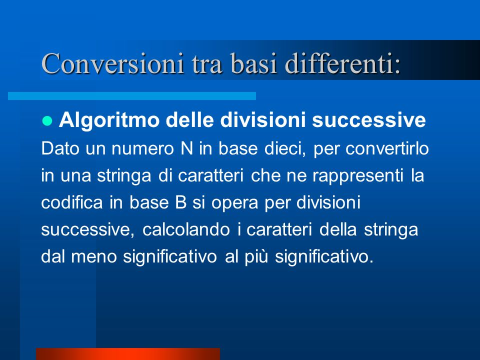 Conversioni tra basi differenti: