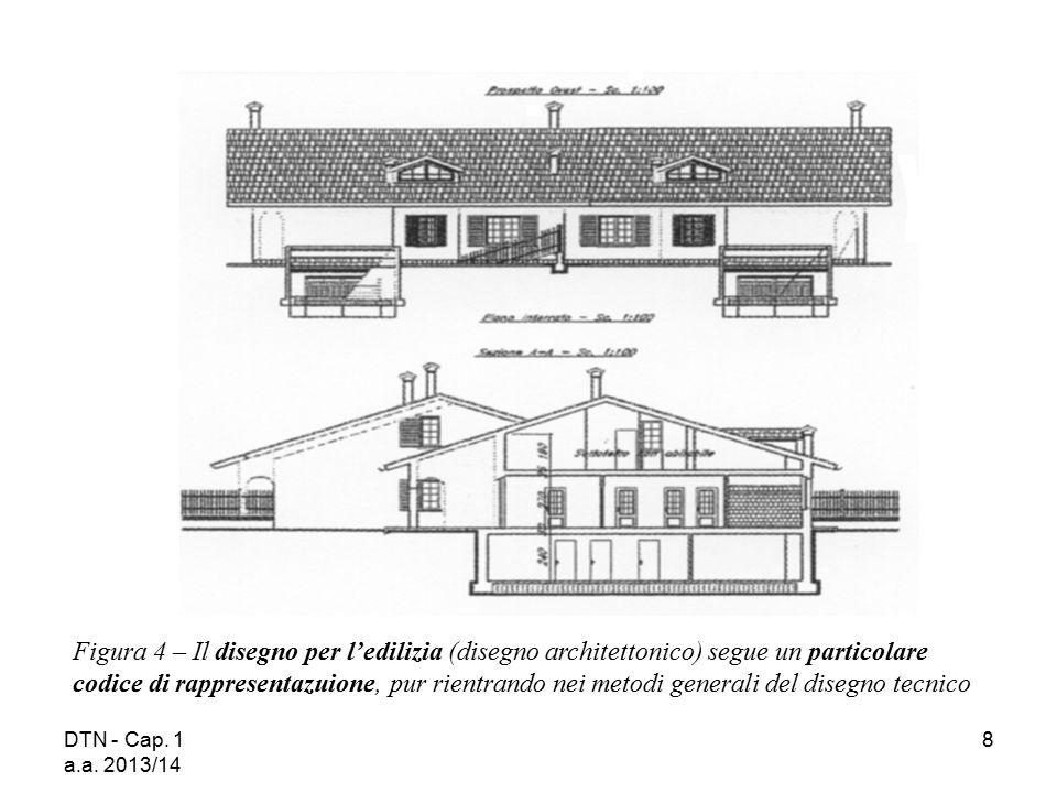 Figura 4 – Il disegno per l'edilizia (disegno architettonico) segue un particolare codice di rappresentazuione, pur rientrando nei metodi generali del disegno tecnico