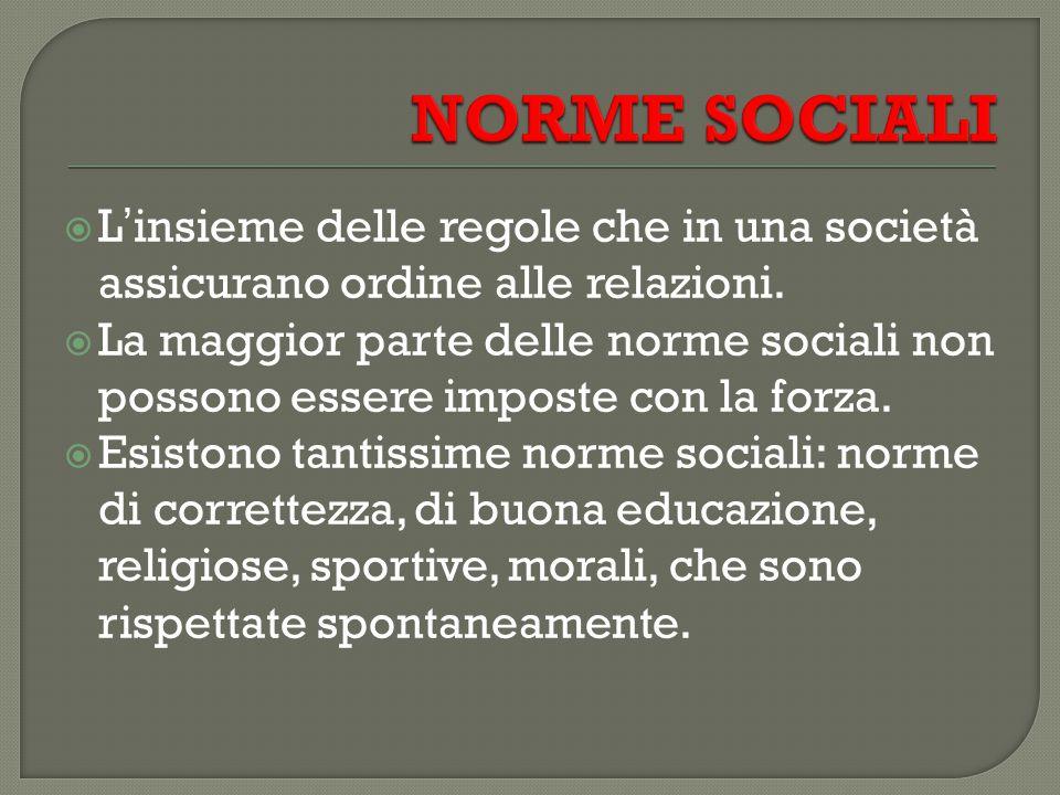 NORME SOCIALI L'insieme delle regole che in una società assicurano ordine alle relazioni.