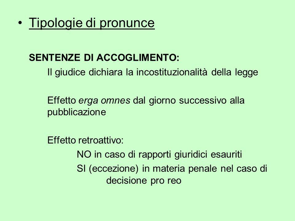 Tipologie di pronunce SENTENZE DI ACCOGLIMENTO: