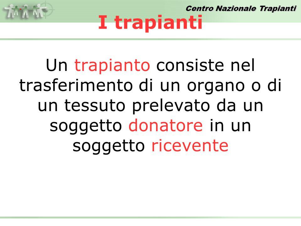 I trapianti Un trapianto consiste nel trasferimento di un organo o di un tessuto prelevato da un soggetto donatore in un soggetto ricevente.
