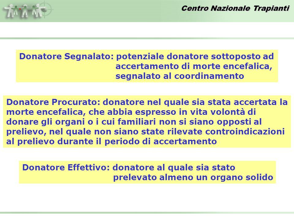 Donatore Segnalato: potenziale donatore sottoposto ad