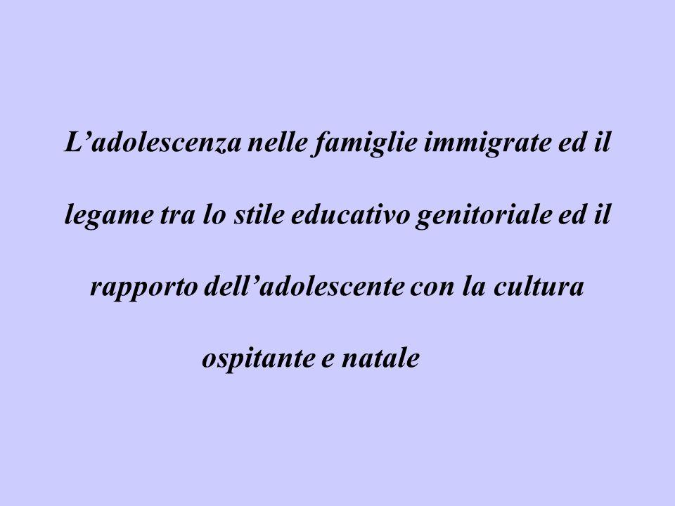 L'adolescenza nelle famiglie immigrate ed il