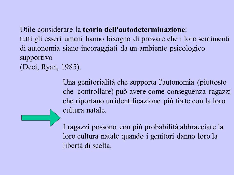 Utile considerare la teoria dell autodeterminazione: