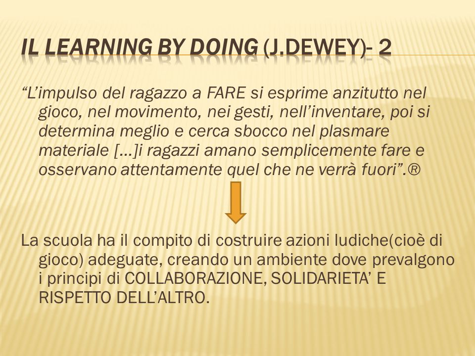 Il learning by doing (J.Dewey)- 2