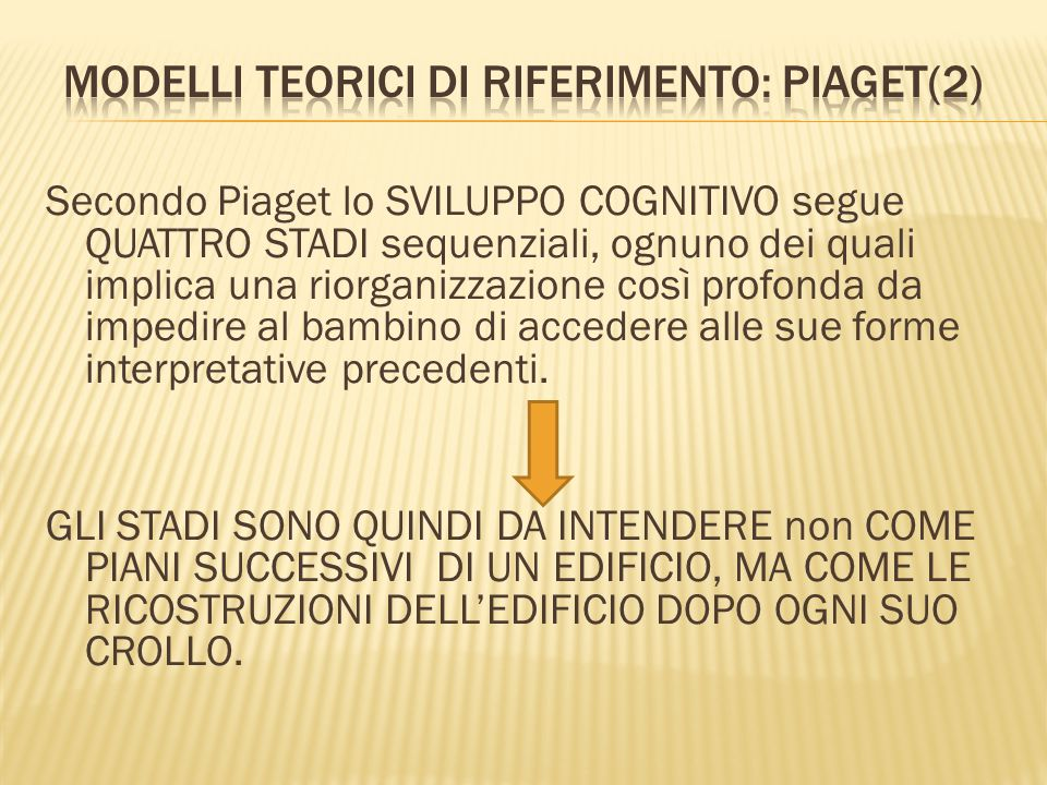 Modelli teorici di riferimento: Piaget(2)