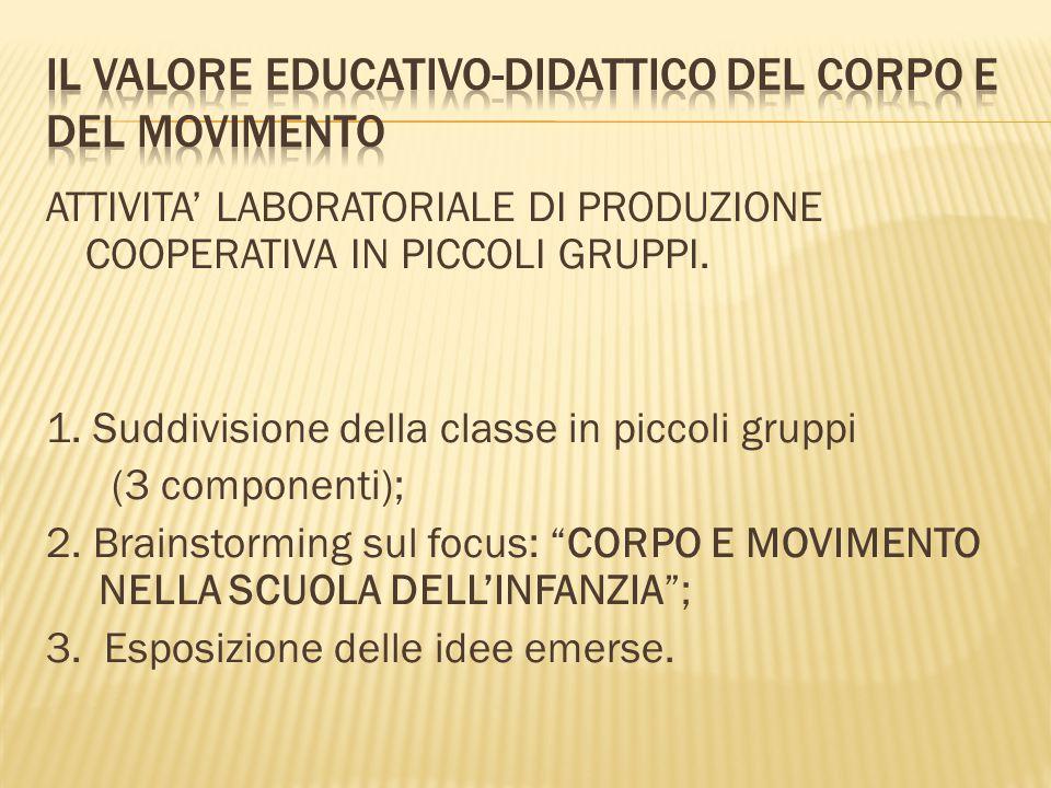IL VALORE EDUCATIVO-DIDATTICO DEL CORPO E DEL MOVIMENTO