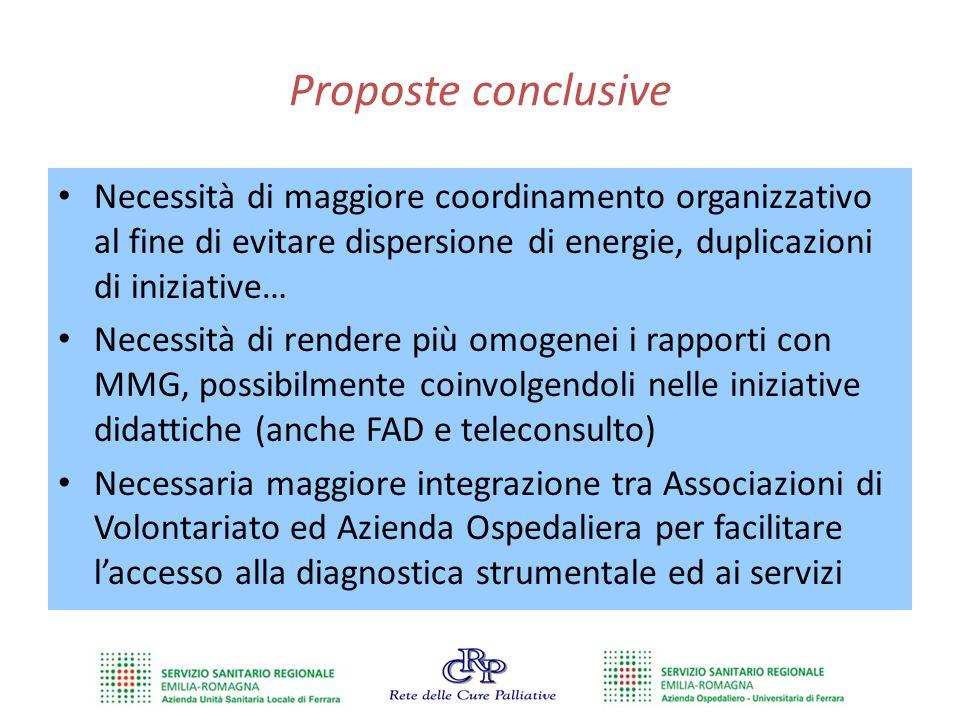 Proposte conclusive Necessità di maggiore coordinamento organizzativo al fine di evitare dispersione di energie, duplicazioni di iniziative…