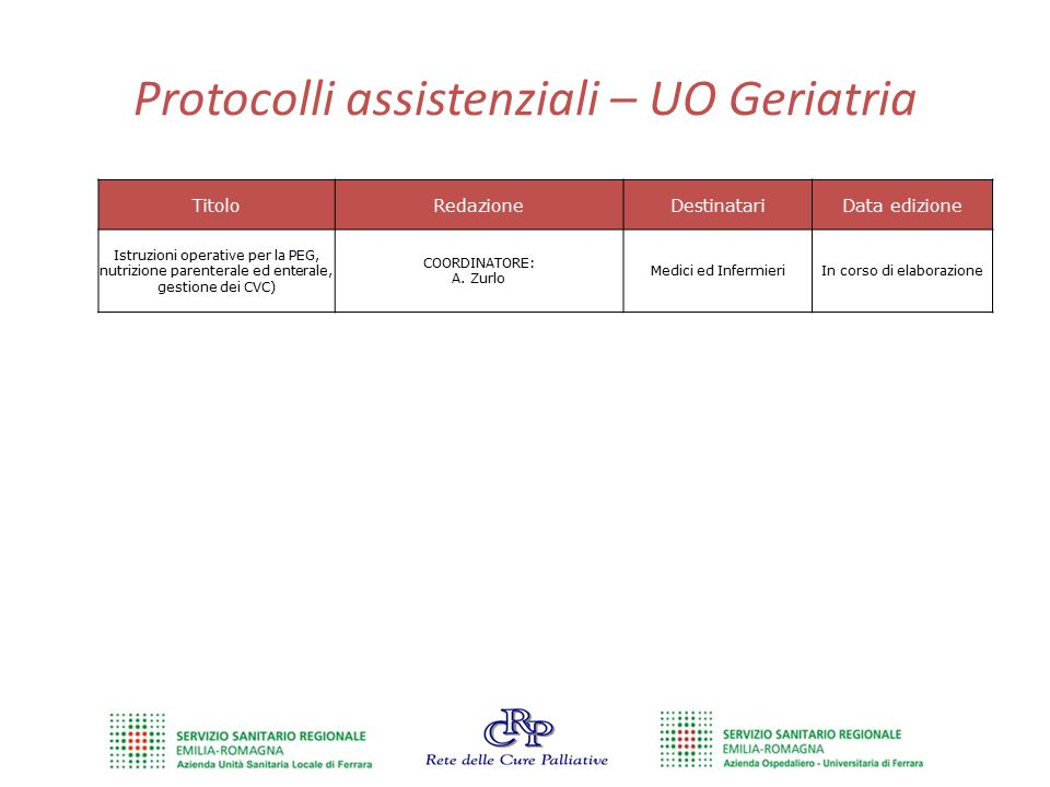 Protocolli assistenziali – UO Geriatria