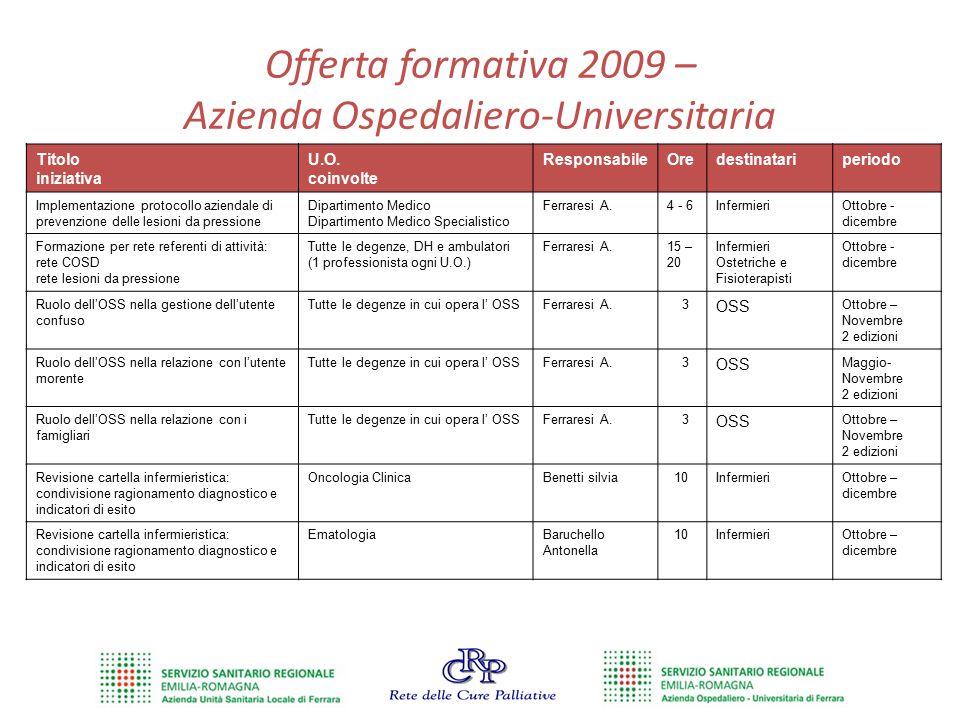 Offerta formativa 2009 – Azienda Ospedaliero-Universitaria