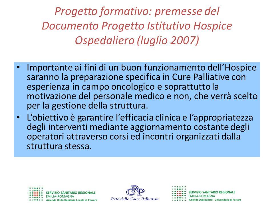 Progetto formativo: premesse del Documento Progetto Istitutivo Hospice Ospedaliero (luglio 2007)