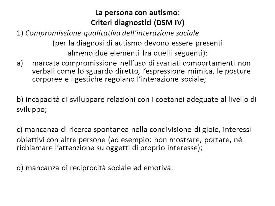 La persona con autismo: Criteri diagnostici (DSM IV)