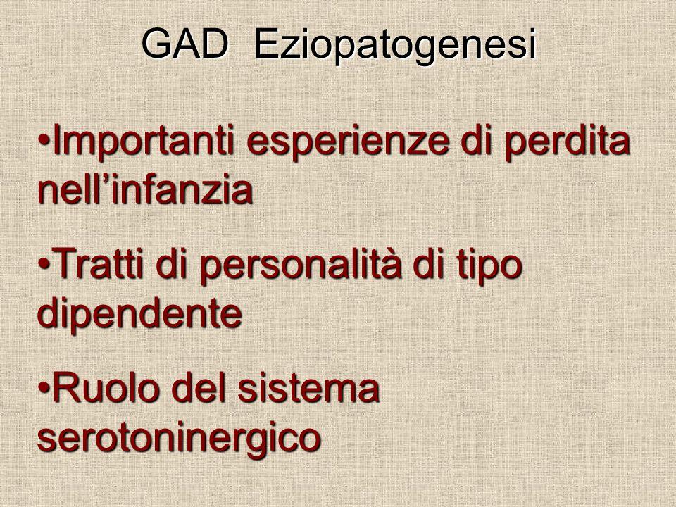 GAD Eziopatogenesi Importanti esperienze di perdita nell'infanzia. Tratti di personalità di tipo dipendente.