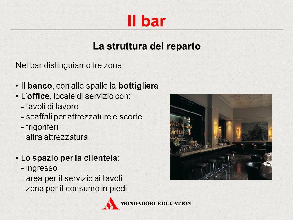 Il bar La struttura del reparto Nel bar distinguiamo tre zone: