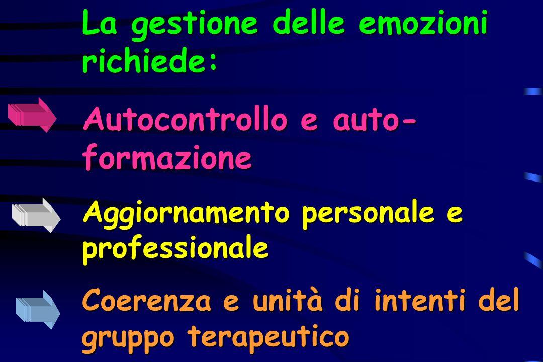 La gestione delle emozioni richiede: Autocontrollo e auto-formazione