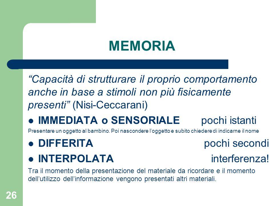 MEMORIA Capacità di strutturare il proprio comportamento anche in base a stimoli non più fisicamente presenti (Nisi-Ceccarani)