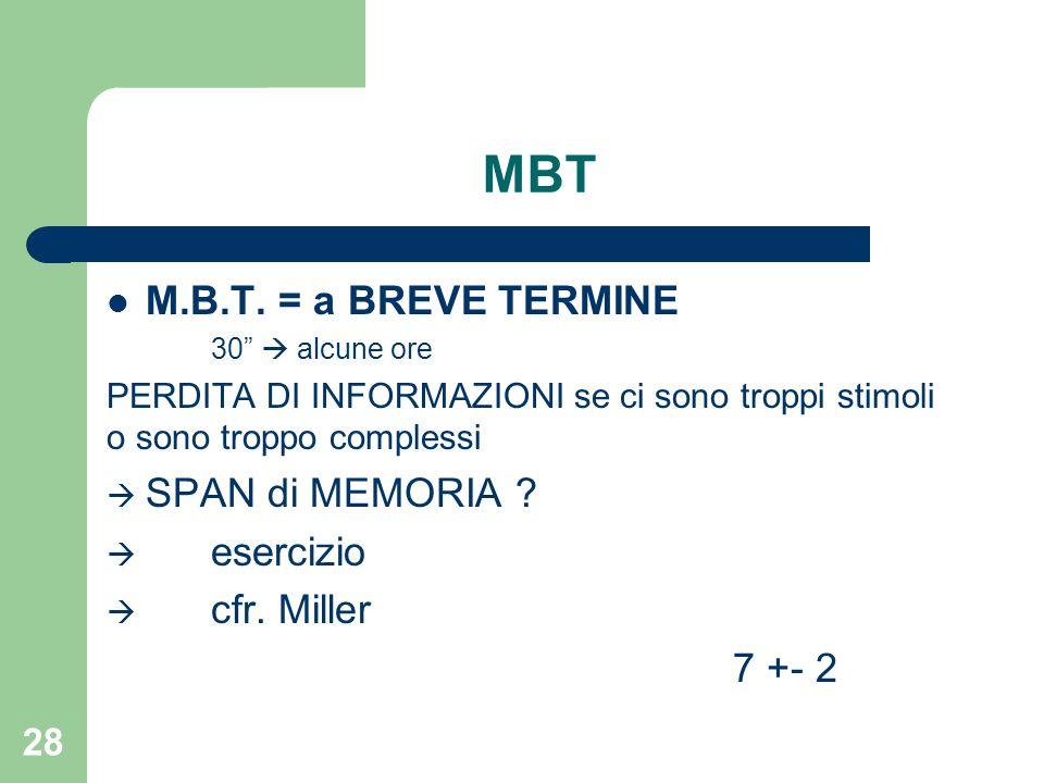 MBT M.B.T. = a BREVE TERMINE SPAN di MEMORIA esercizio cfr. Miller