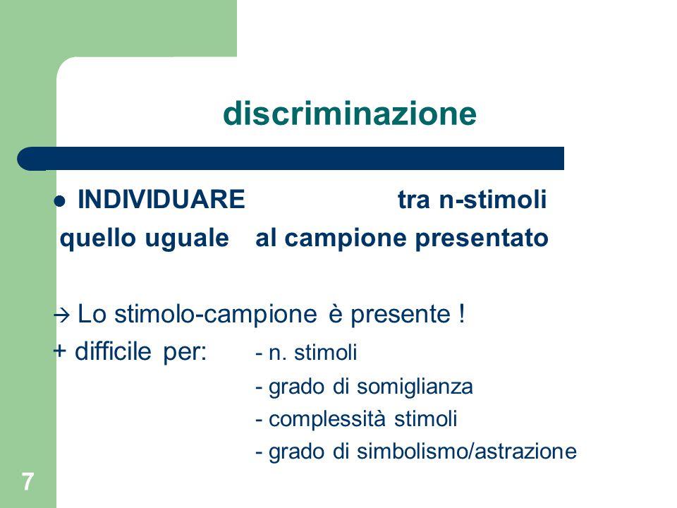 discriminazione INDIVIDUARE tra n-stimoli