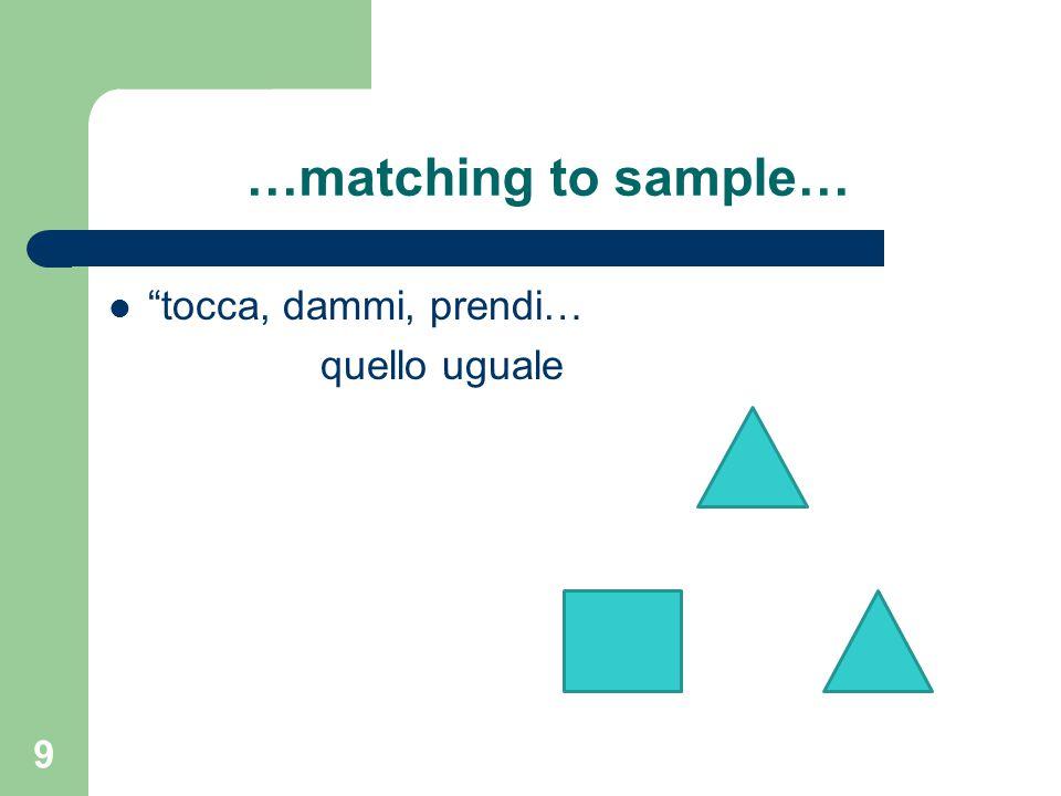 …matching to sample… tocca, dammi, prendi… quello uguale