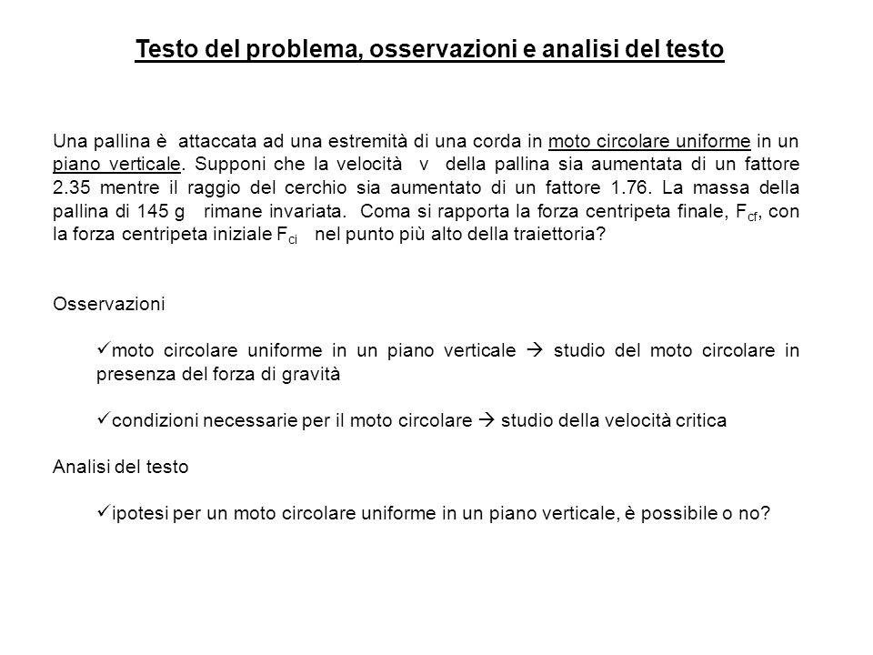 Testo del problema, osservazioni e analisi del testo