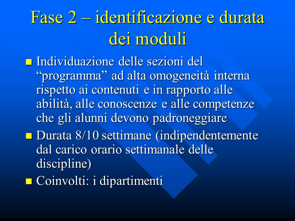 Fase 2 – identificazione e durata dei moduli