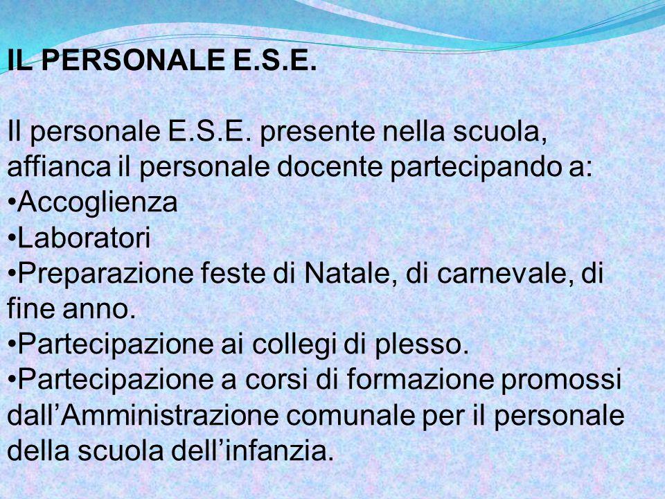 IL PERSONALE E.S.E. Il personale E.S.E. presente nella scuola, affianca il personale docente partecipando a: