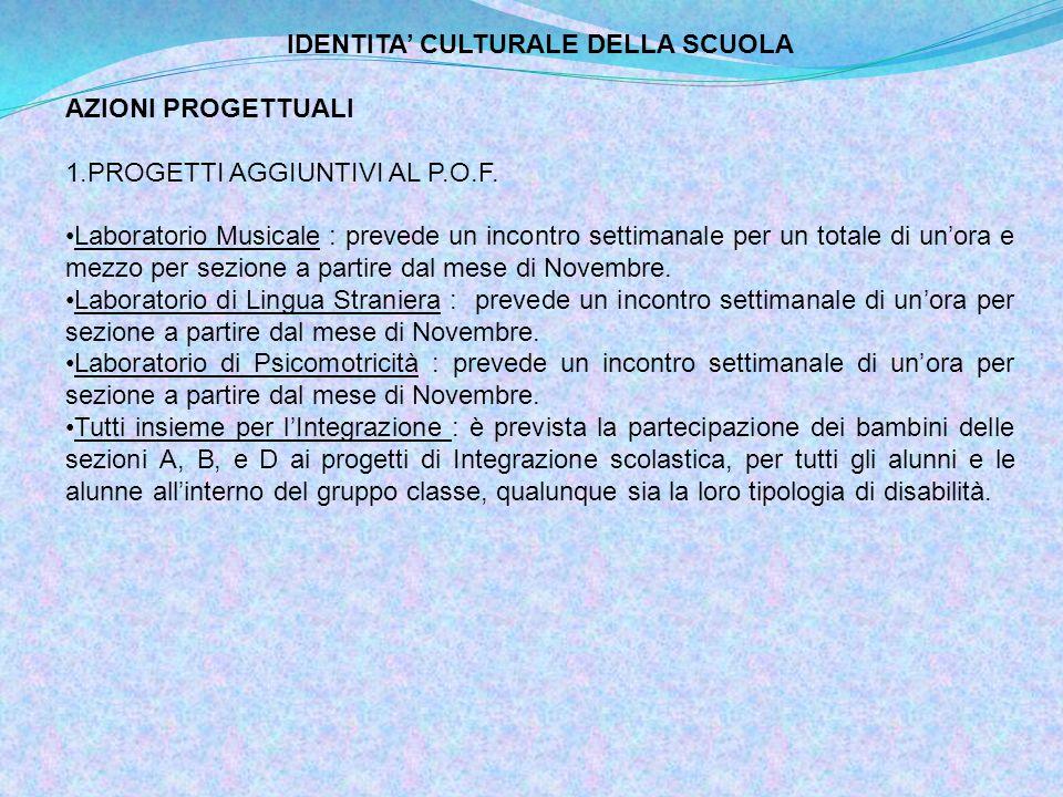 IDENTITA' CULTURALE DELLA SCUOLA