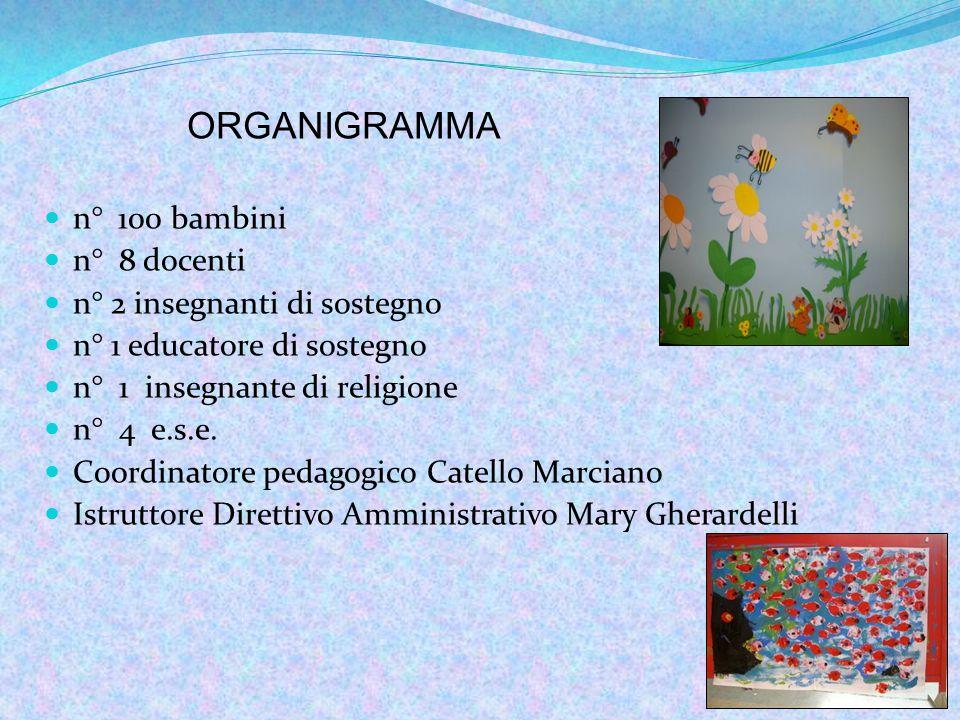ORGANIGRAMMA n° 100 bambini n° 8 docenti n° 2 insegnanti di sostegno