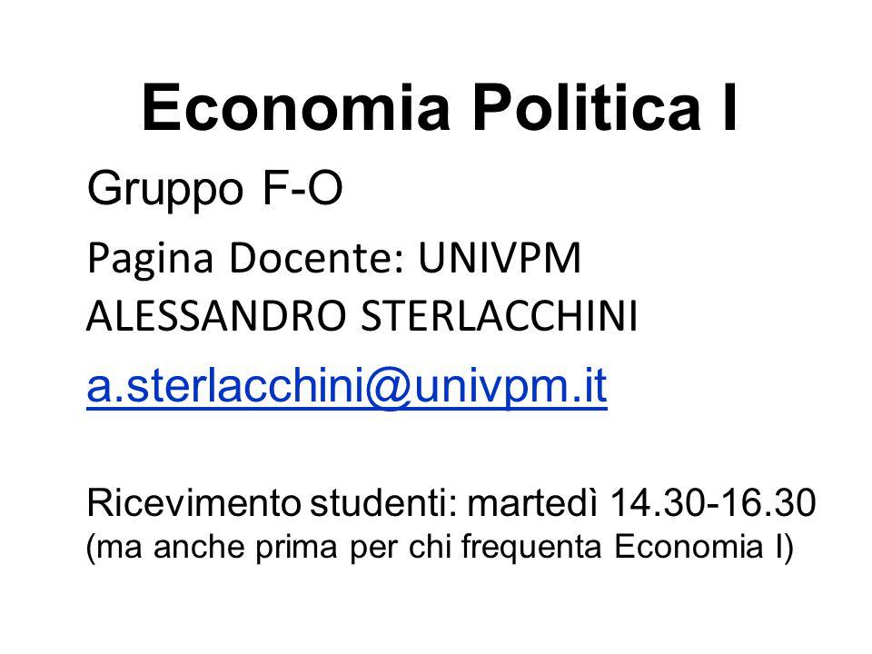Economia Politica I Gruppo F-O