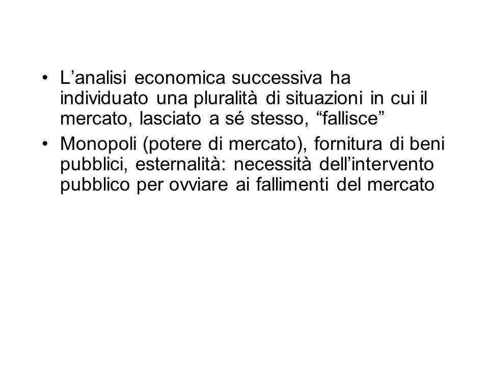 L'analisi economica successiva ha individuato una pluralità di situazioni in cui il mercato, lasciato a sé stesso, fallisce