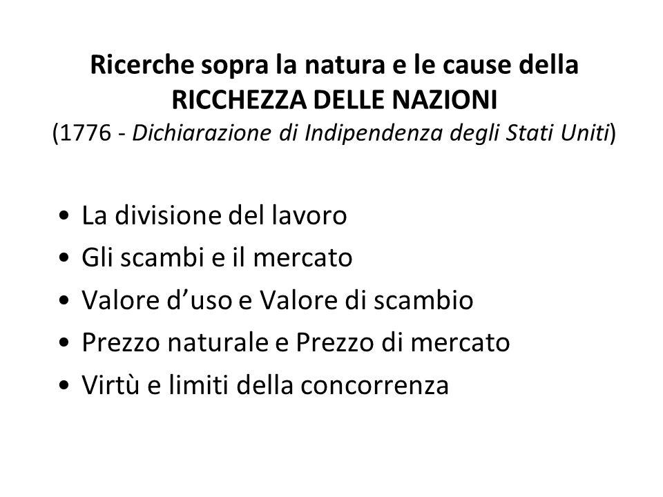 Ricerche sopra la natura e le cause della RICCHEZZA DELLE NAZIONI (1776 - Dichiarazione di Indipendenza degli Stati Uniti)